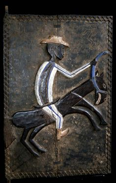 Africa | House door from the Baoule people of the Ivory Coast | Carved wood