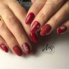 132 eye catching nail design ideas perfect for winter - page 16 > Homemytri. New Year's Nails, Red Nails, Love Nails, Pretty Nails, How To Do Nails, Pastel Nails, Bling Nails, Christmas Gel Nails, Christmas Nail Designs