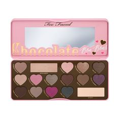 The Too Faced Chocolate Bar eyeshadow palette is pigmented with pure, antioxidant-rich cocoa powder. This chocolate collection includes 16 shades of natural browns, delicate pinks and luscious plums.