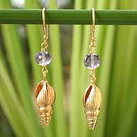 Delicate textured seashell earrings