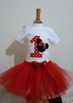 1st First Birthday girl Minnie Mouse tutu by Inspiredbyababy, £25.00