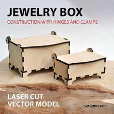 Jewelry box vector template for laser cutting. Instant by cartonus
