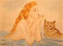 Woman And Cat Tsuguharu Foujita キャットアート アートの