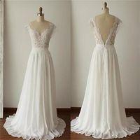 2017 Simple Long A-Line V-back Lace Wedding Dresses, Chiffon Wedding Party Dresses, WD0013