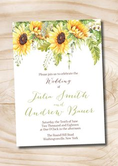 summer sunflower wedding invitation response card invitation suite