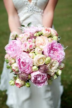 All Peonies Full & Gorgeous #Bridal #bouquet