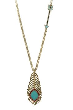 Wildfox Couture Jewelry  Feather Pendant & Arrow Necklace