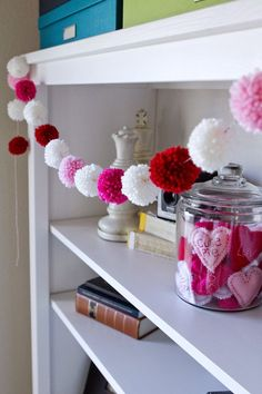 Super cute yarn pom pom garland!  Fun for Valentine's Day!     My Name Is Snickerdoodle