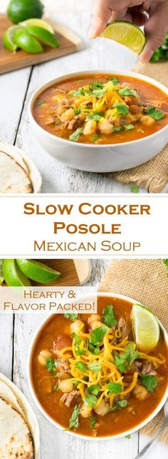 Slow Cooker Posole Mexican Soup Recipe via @foxvalleyfoodie