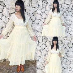 Vintage 70s Pale Yellow Cotton Gauze Romantic Poet Sleeves Lace Collar Off Shoulder Peasant Ruffle Neckline Folk Prairie Dress M $85.00  https://www.etsy.com/listing/246691268/vintage-70s-pale-yellow-cotton-gauze