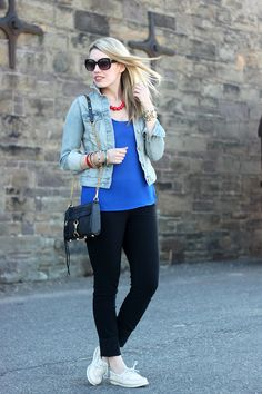 Jewelry: all c/o Kristin Hassan, Jacket: Old Navy, Top: Winners, Pants: H & M, Bag: Rebecca Minkoff, Shoes: Sperry Top Sider