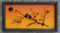 FREE SHIPPING  This will be made to order on a 8.5x11 wood frame. NOTE: The frame pictured in the original is 16x20. Two little pebble art black birds perched on a branch/tree, set on a hand painted sunset background. Materials used are pebbles, rocks, desert plants.  The frame is open, measuring 8.5x11, painted in acrylics, and given a distressed look...ready for display on a wall.  Thank you so much for looking. Please message with any questions....P.S. I love special requests....and d...