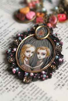Hansel and Gretel - original cameo by Mab Graves by mab graves, via Flickr
