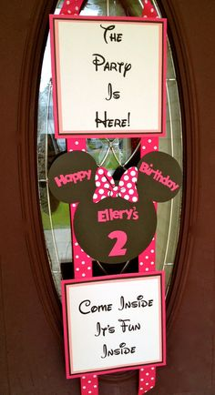 Minnie Mouse Inspired Birthday Door Banner by PicturePerfectParty