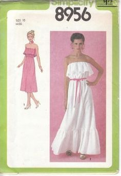 Vintage Simplicity 8956 Size 10 Dress Pattern Peasant Ruffled Boho Hippie Uncut | eBay