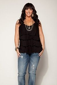 New Women Plus Size BLACK RUFFLED SUMMER TANK TOP IN Size 3X (ON SALE)