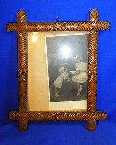 Vintage German Folk Art Wood Carved Picture Frame #M4