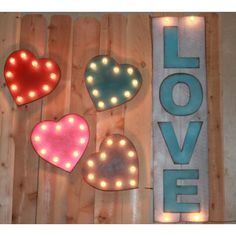 Little Heart BIG Personality Vintage Inspired Marquee Lighted Wood... ($35) ❤ liked on Polyvore