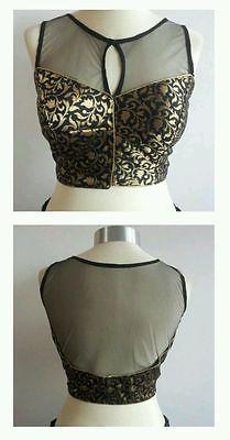 Designer lehenga sari blouse choli brocade bridal black indian gold halter net
