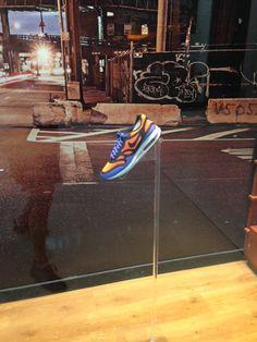 Nike Air Max Lunar 1 Breathe retail window display sports shoe display.