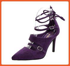 Susanm Women's Buckle Drawstring Pointed Toe Stiletto Mid Heel Sandals Purple Suede10 B(M) US Popular - Sneakers for women (*Amazon Partner-Link)