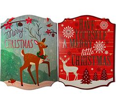 Christmas Decorations For Your Home  Set of 2 Wooden Christmas Signs  Merry Christmas  Have Yourself A Merry Little Christmas Signs *** Find out more about the great product at the image link.