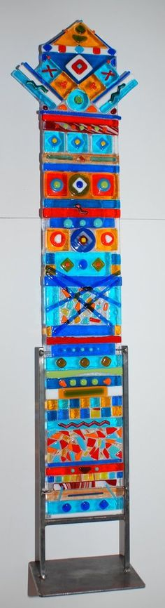 """Phoenix"" Multi Color Fused Glass Totem Large 39"" High 6""Wide"