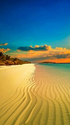 Amazing white sand beach leading into the sunset