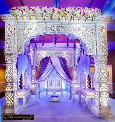 Mandap with beautiful purple rustic draping. Indian wedding decor I love it. Wedding Mandap, Desi Wedding, Wedding Stage, Purple Wedding, Telugu Wedding, Wedding Backdrops, Wedding Veil, Gift Wedding, Wedding Receptions
