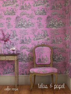 Papel pintado Toile de jouy Balleroy rosa, telas & papel