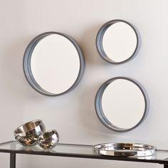 Holly & Martin Daws Wall Mirror 3pc Set, Cool Gray