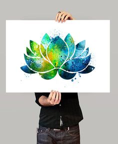 Flor de loto de la pared, decoración de flores de loto, Yoga acuarela arte, Buda…