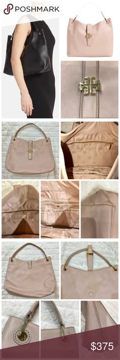 ⚡️Sale⚡️Tory Burch Light Pink Leather Hobo Tory Burch Plaque Light Oak Pink Leather Hobo. This beautifully crafted pebbled-leather Hobo is accented with gold tone Tory Burch hardware & magnetic closure. The inside features logo jacquard lining, zipper pouch, snap pouch, & two slip pockets. Worn only once. Like new condition. Be unique as this style bag is a rare find. Accepting reasonable offers. Tory Burch Bags Hobos