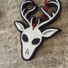 Reindeer Skull Christmas Tree Ornament by voodookitty on Etsy