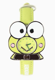 Bright green Keroppi character wristwatch with faux leather band