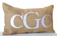Personalized lumbar pillow, Burlap Monogram Pillow Cover, Custom Alphabet Cover, Couple Gift, Kids R Burlap Monogram, Monogram Pillows, Personalized Pillows, Burlap Pillows, Monogram Letters, Teal Throw Pillows, Lumbar Throw Pillow, Throw Pillow Covers, Initial Cushions