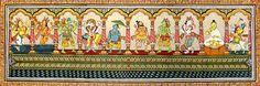 Dashavatara (Orissa Paata Painting on Tussar Silk - Unframed))