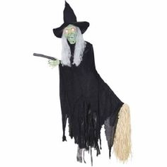 Flying Witch Halloween Light Sound Talking Animated Scary Decoration Party New