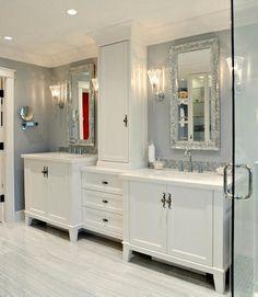Love this bathroom, the silver is so feminine