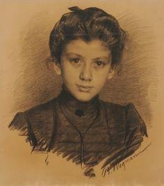 Portrait of a young Woman by Bertha Wegmann (1847-1926)