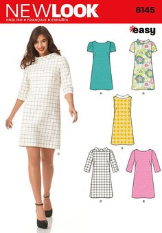 New Look Ladies Easy Sewing Pattern 6145 Knee Length Shift Dresses  5243fd2f45c