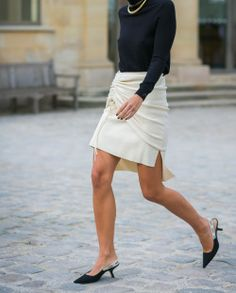 #rubyloves draped skirt / black turtleneck / Dior slingbacks - street chic Olympia Scarry look PFW