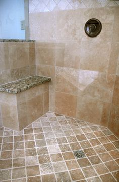Travertin Badezimmer Bad Umbau Ideen Duschkopfe Master Mischer Granit Built In Bench Bath Shower
