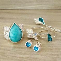 Blue power! . . . . . #bluering #blue #bluestonering #amazonitestone #blueenamel #shellnecklace #studs #earrings #blueearrings #wingring… Blue Rings, Shell Necklaces, Turquoise Bracelet, Studs, Wings, Enamel, Bracelets, Earrings, Shop