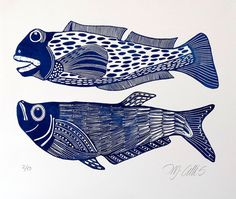 linocut print Big Boys fish in blue on white paper by artcanbefun, $45.00