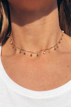Fiesta Charm Choker - Jewelry - Ideas of Jewelry - Multi Colored Charm Choker Necklace Nikki Smith Designs Dainty Necklace, Dainty Jewelry, Simple Necklace, Cute Jewelry, Jewelry Accessories, Women Jewelry, Silver Jewelry, Jewelry Box, Beaded Choker Necklace
