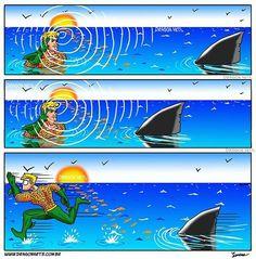 """""""Aquaman goes """"overboard"""" with his aquatic social skills"""""""