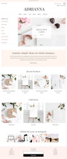 Adrianna is a modern Shopify eCommerce WordPress theme that meets all WordPress stores need. It is best eCommerce template from Bluchic who is famous Website Design Inspiration, Blog Design, Web Design, Web Themes, Website Themes, Reading Themes, Theme Template, Ecommerce Template, Premium Wordpress Themes