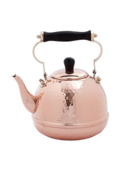 Love copper! - Old Dutch Solid Copper Hammered Teakettle with Wood Handle and Knob, 2-Quart