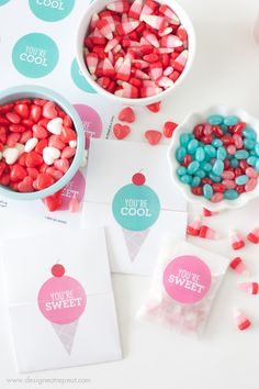 """Make your own DIY Valentines with these free printable """"Icecream Valentines"""""""